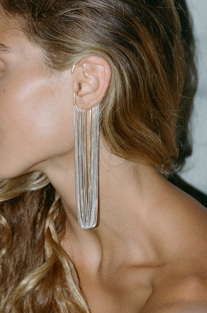 CURRENTS EAR CUFF LONG SILVER
