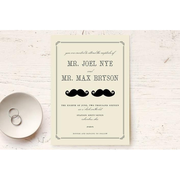 Double Moustache Print-It-Yourself Wedding Invitation