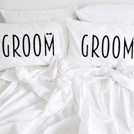 Two Groom Pillow Cases