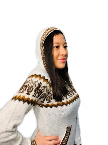 Alpaca Pattern Ivory Sweater with a Hood and Front Pockets