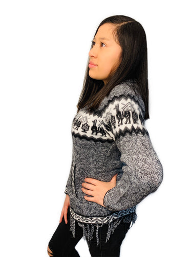 Alpaca Pattern Gray Sweater with a Hood and Front Pockets