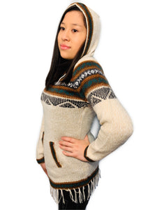 Black Detailed Beige Sweater with a Hood and Front Pockets