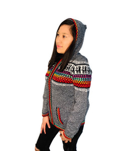 Red Detailed Gray Sweater with a Hood and Front Pockets