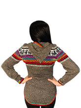 Load image into Gallery viewer, Alpaca Pattern Rainbow Sweater with a Hood and Front Pockets