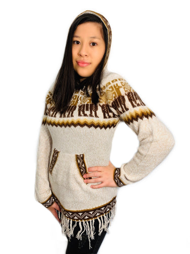 Brown Detailed Beige Sweater with a Hood and Front Pockets
