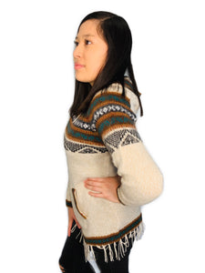 Black Detailed Ivory Sweater with a Hood and Front Pockets