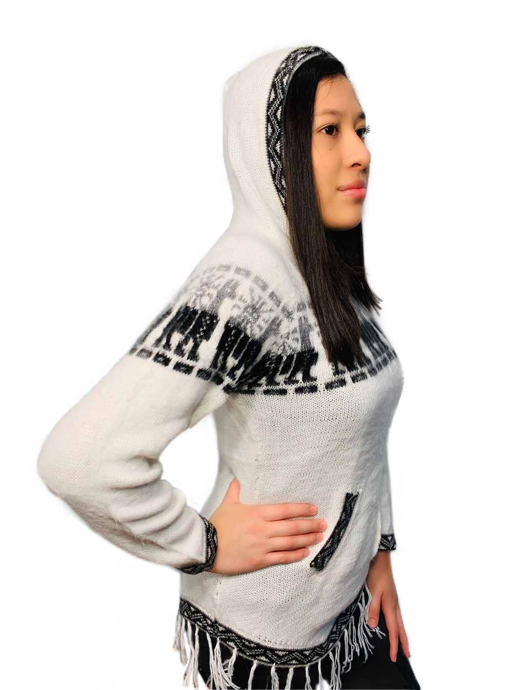 Alpaca Pattern White Sweater with a Hood and Front Pockets