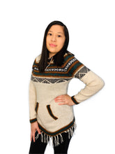 Load image into Gallery viewer, Black Detailed Ivory Sweater with a Hood and Front Pockets