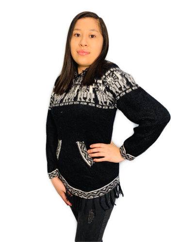 Alpaca Pattern Black Sweater with a Hood and Front Pockets