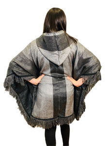 Charcoal Ash Alpaca Poncho With Hood