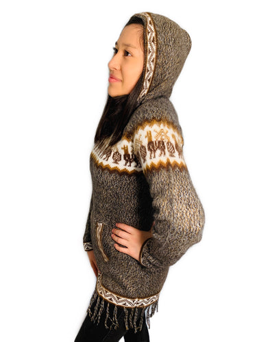 Alpaca Pattern Brown Sweater with a Hood and Front Pockets