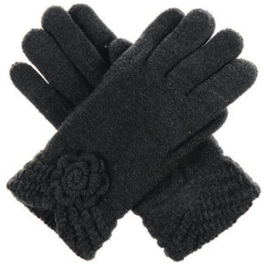 Black Knit Fleece Lined Glove