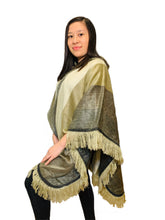 Load image into Gallery viewer, Gold Cream Alpaca Poncho With Hood