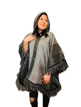 Load image into Gallery viewer, Charcoal Ash Alpaca Poncho With Hood