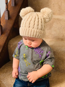 KIDS MULTI DOUBLE POM CC BEANIE