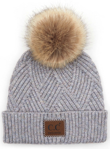 C.C Pom Pom Hat with Suede Patch in Diagonal Stripes Criss Cross Pattern | More Colors