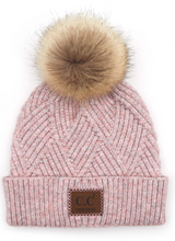 Load image into Gallery viewer, C.C Pom Pom Hat with Suede Patch in Diagonal Stripes Criss Cross Pattern | More Colors