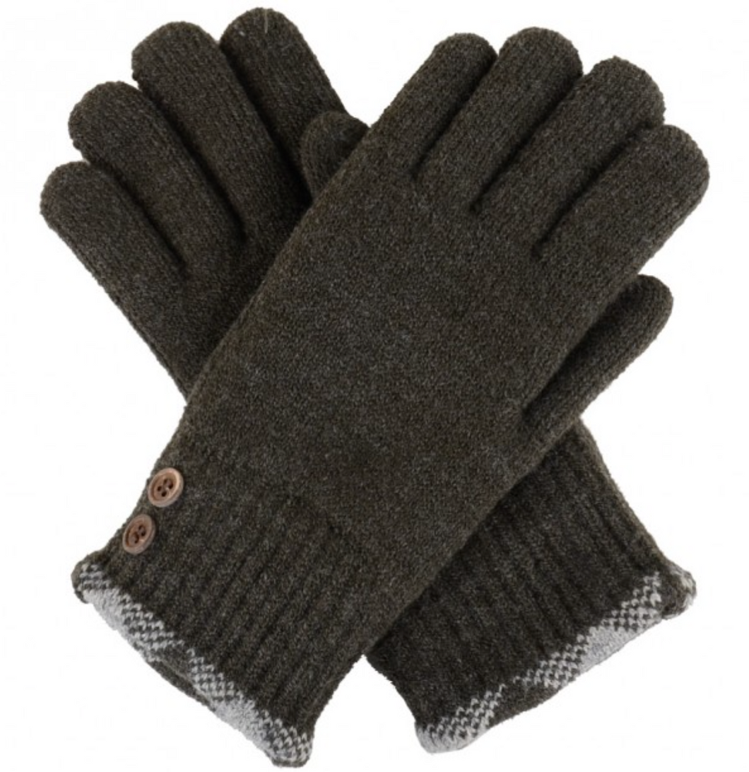 Shadow Botton Knit Fleece-Lined Glove