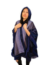 Load image into Gallery viewer, Violet Wave Shade Alpaca Poncho With Hood