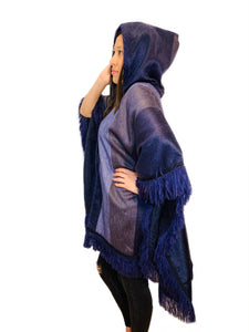 Violet Wave Shade Alpaca Poncho With Hood