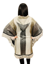 Load image into Gallery viewer, White, Beige and Grey Alpaca Poncho With Hood
