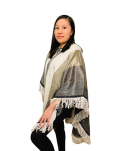 White, Beige and Grey Alpaca Poncho With Hood