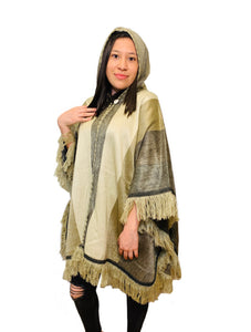 Gold Cream Alpaca Poncho With Hood