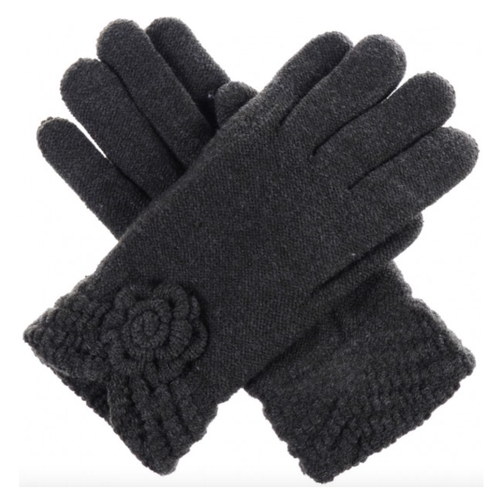 Charcoal Knit Fleece-Lined Glove