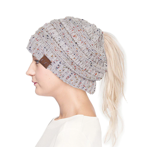CC Confetti Speckles Ponytail Beanie | Comfortable for Woman during Winter