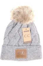 Load image into Gallery viewer, CC Zig Zag Cable Knit Fur Pom Beanie Hat | More Colors