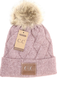 CC Zig Zag Cable Knit Fur Pom Beanie Hat | More Colors