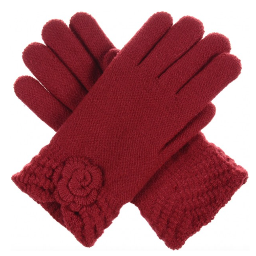 Red Knit Fleece Lined Glove