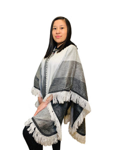 Gray Ash and White Alpaca Poncho With Hood