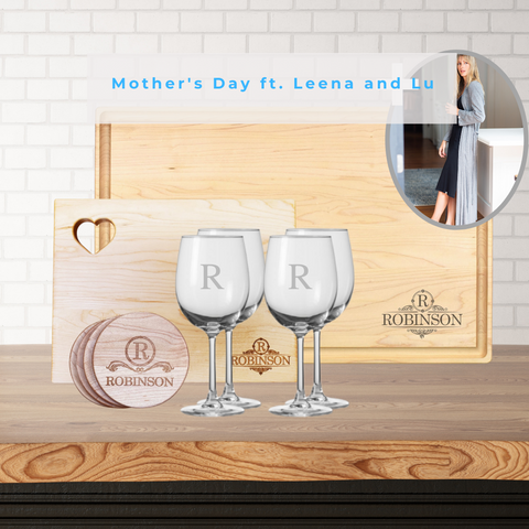 two boards, wine glasses, and wooden coasters