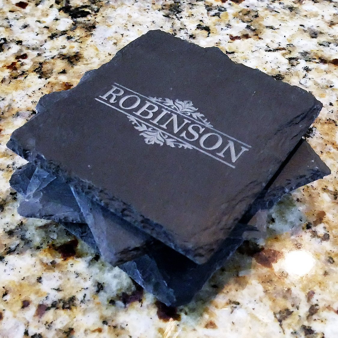 Dots Monogram Engraved Slate Coaster Set
