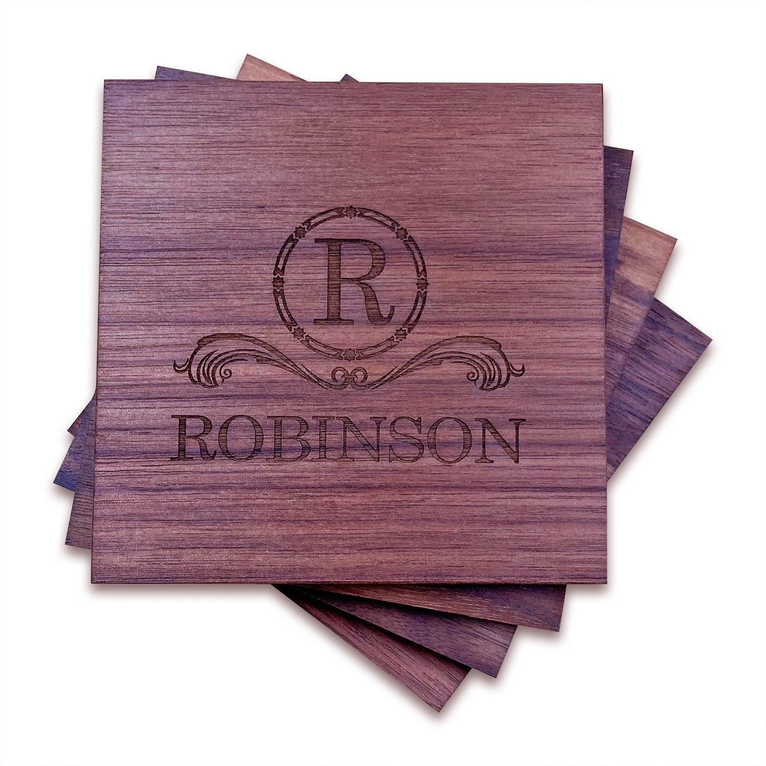 Double Initial Monogram Engraved Slate Coaster Set