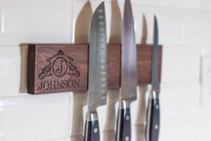 "12"" Personalized Magnetic Knife Holder - Walnut - Hailey Home"