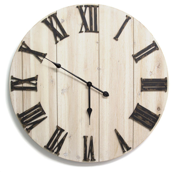 Distressed White Wood Wall Clock - 28 inch diameter