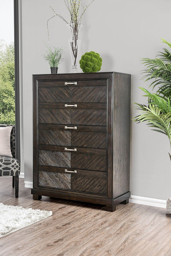 Transitional Wood Chest With V-Pattern Design