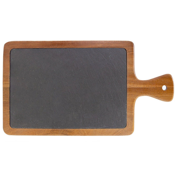 Acacia Wood & Slate Cutting Board With Handle (13 1/4