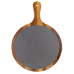 "Acacia Wood & Slate Round Serving Tray (14 1/2"" x 10 1/2"") - Hailey Home"