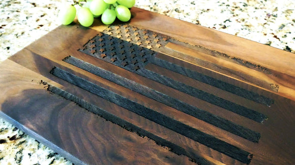 American Flag Patriotic Engraved Walnut Cutting Board (11