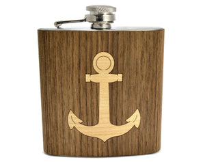 Anchor Design Wood-Wrapped Flask - Hailey Home