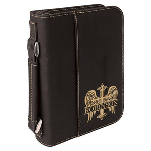 Black Leatherette Bible Cover - Gold Angel Winged Cross - Hailey Home