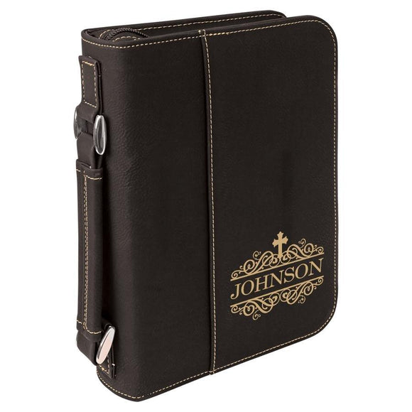 Black Leatherette Bible Cover, Gold Engraving - Hailey Home