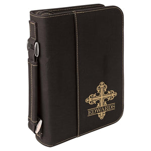Black Leatherette Bible Cover - Gold Monogram Cross - Hailey Home