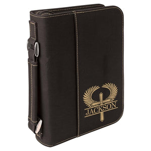 Black Leatherette Bible Cover - Gold Outstretched Winged Cross - Hailey Home