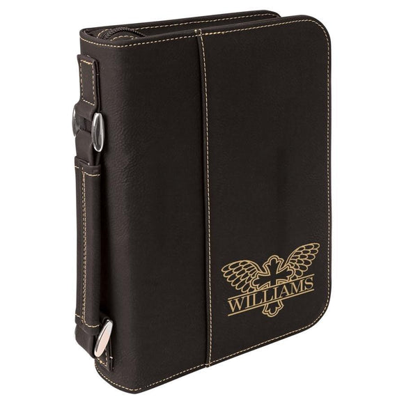 Black Leatherette Bible Cover - Gold Winged Cross - Hailey Home