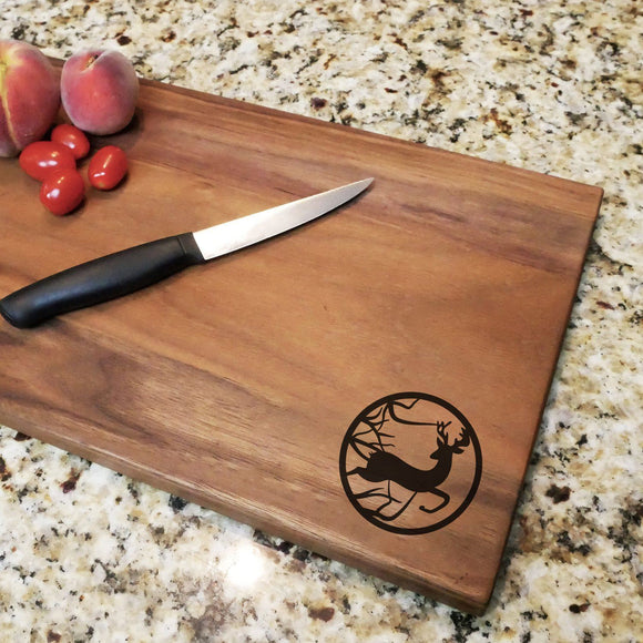 Deer Scene - Engraved Walnut Cutting Board (11