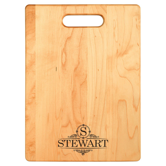 Deluxe Monogram Maple Cutting Board With Handle - Hailey Home